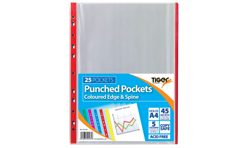 Tiger ECO A4 Pack 25. Coloured Edge, 45mic Polyprop MultiPunched Pockets
