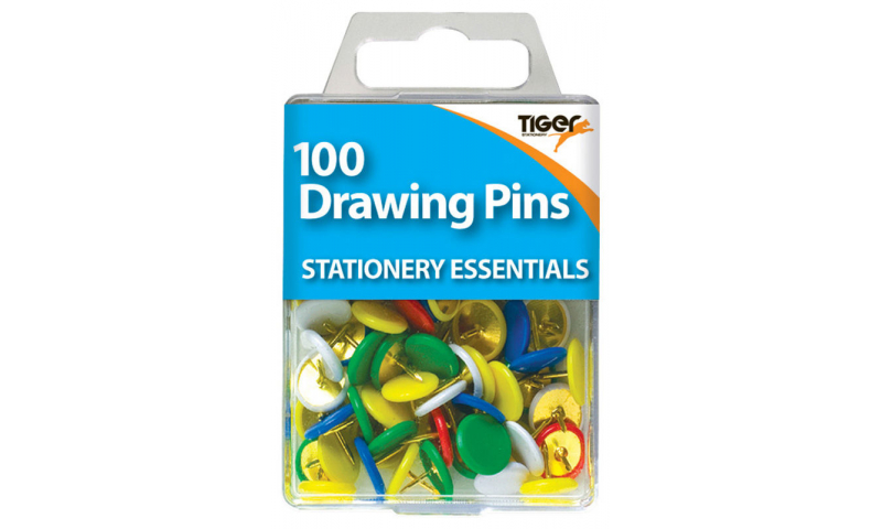 Tiger Essentials, 100 Solid Head Drawing Pins 9.5mm Asstd Colours