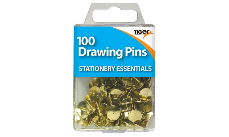 Tiger Essentials, 100 Solid Head Drawing Pins 9.5mm Brass