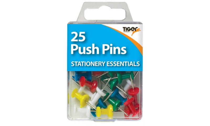 Tiger Essentials, 25 Push Pins Asstd Colours
