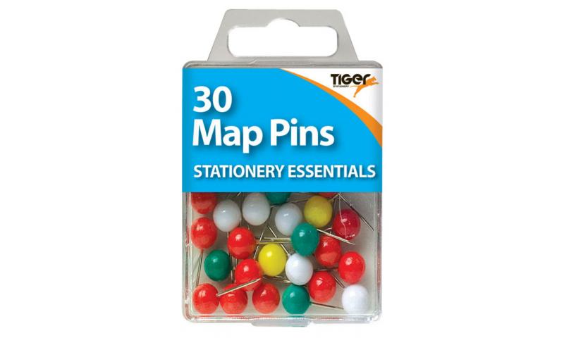 Tiger Essentials, 30 Map Pins Asstd Colours