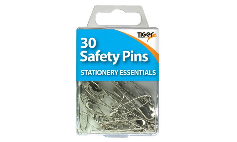 Tiger Essentials, 30 Safety Pins Steel