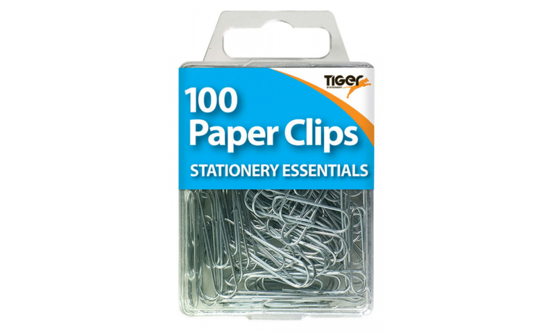 Tiger Essentials, 100 Paper Clips Small Steel