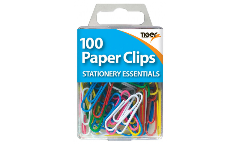 Tiger Essentials, 100 Paper Clips Assorted Coloured