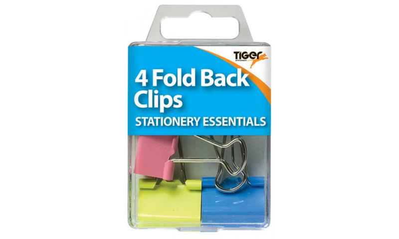 Tiger Essentials, 4 Foldback Clips 19mm Asstd Colours