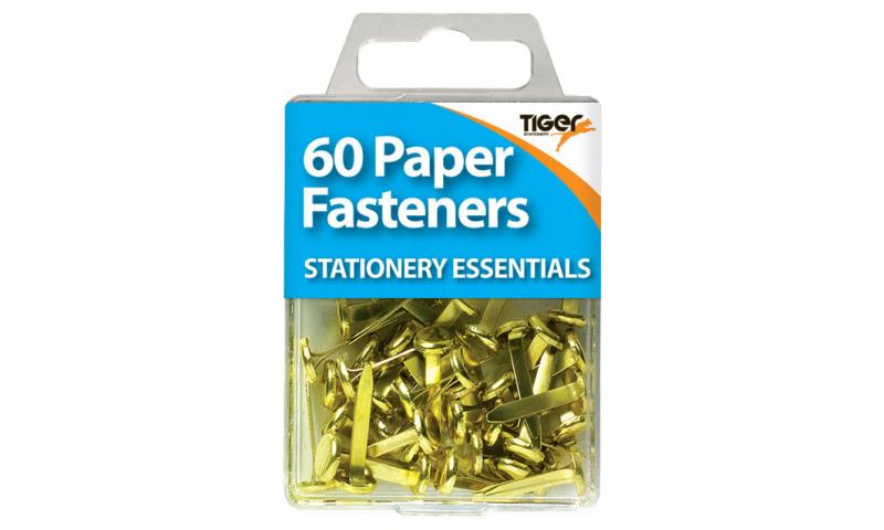 Tiger Essentials, 45 Paper Fasteners 20mm Brass
