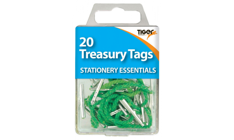 Tiger Essentials, 15 Treasury Tags 51mm Metal Ended