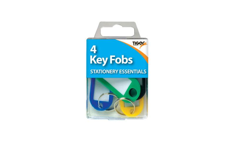 Tiger Essentials, 4 Insertable Window Key Fobs Asstd Colours