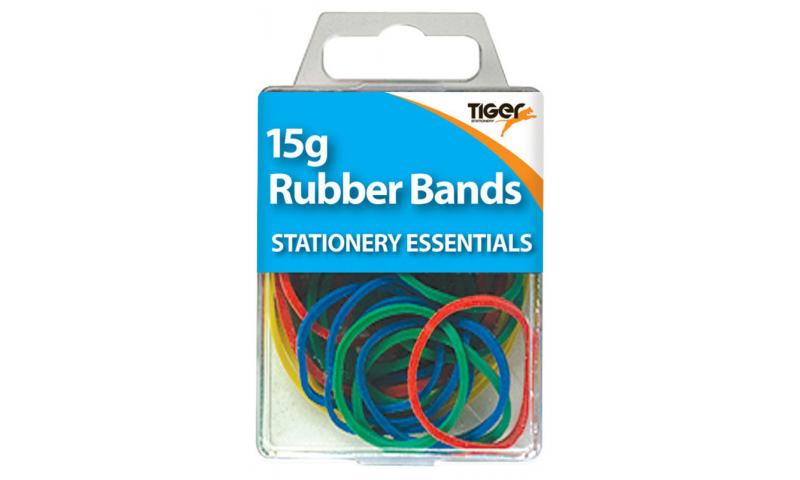 Tiger Essentials, 15g Rubber Bands Asstd Colours