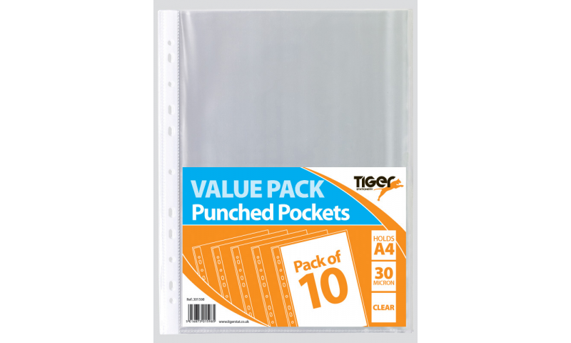 Tiger ECO 30Mic Value Pack A4 Punched Pockets, 10pk Bagged. 100% Recycled