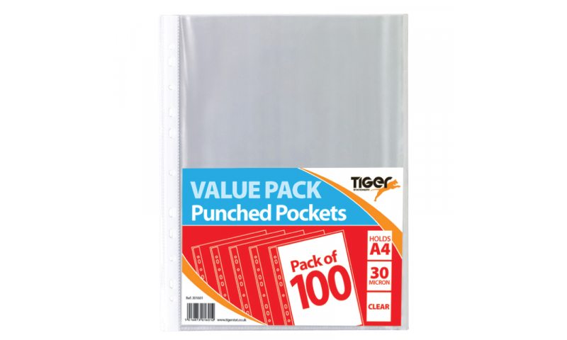 Tiger ECO 30Mic Value Pack A4 Punched Pockets, 100pk Bagged. 100% Recycled (New Lower Price for 2021)