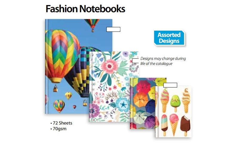 Tiger Fashion A5 Casebound Ruled Books, 72 Sheets, 70gsm Paper, 4 Asstd Designs.  (New Lower Price for 2021)
