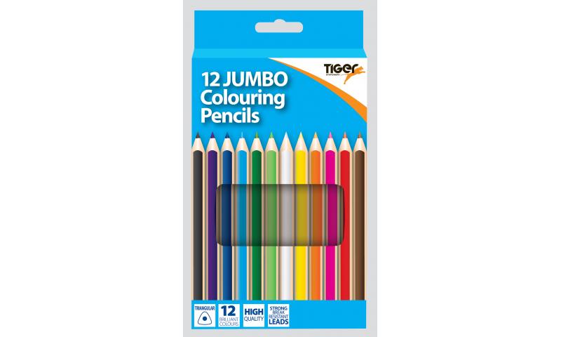 Tiger Maxi Ergo Full Length Colouring Pencils 12pk Asstd.
