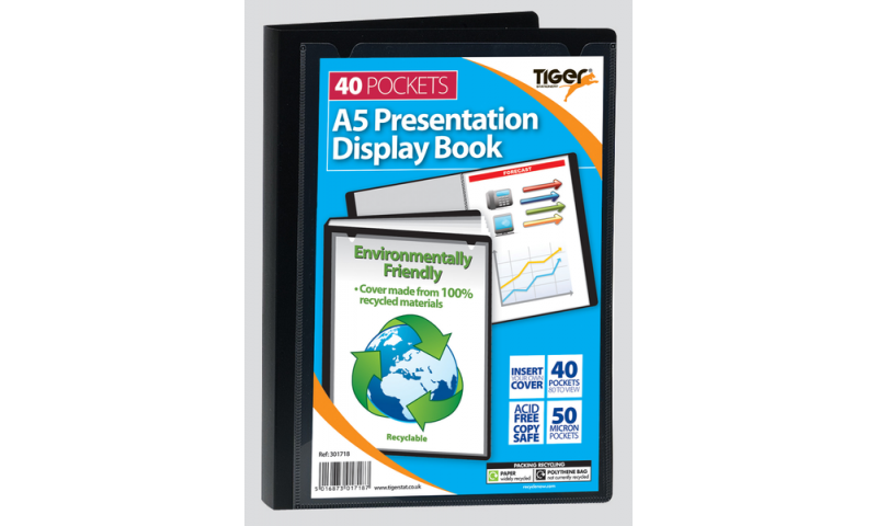 Tiger ECO A5 40 Pocket Recycled Presentation Display Book (New Lower Price for 2021)