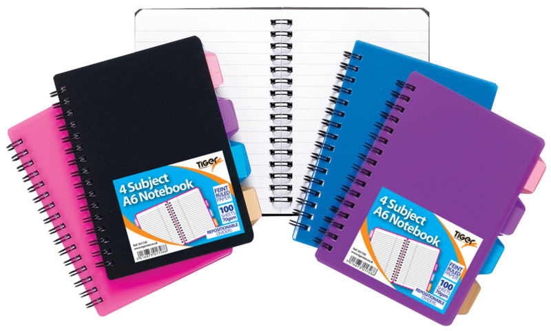 Tiger A6 P/Prop Cover, 4 Subject Project Book with Dividers, 100 Sheet