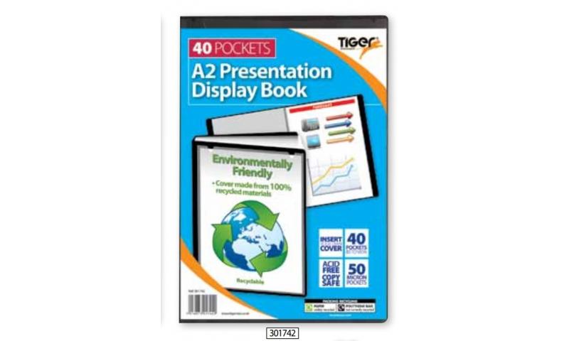 Tiger ECO A2 Presentation Display Book, 40 Pockets, Recycled & Acid Free
