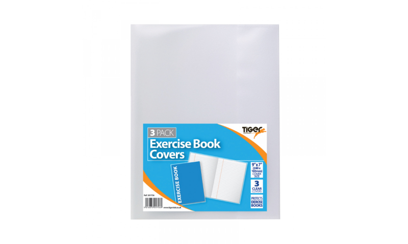 Tiger Clear Slip Over Exercise Book Covers - fits 9x7 inch, pack of 3.   (New Lower Price for 2021)