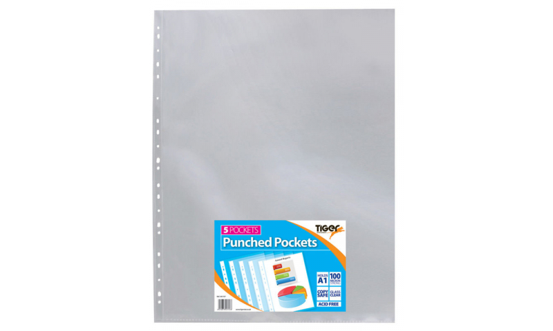 Tiger A1 ECO Glass Clear Punched Pockets, Portrait, 100mic, Pack of 5 (New Lower Price for 2021)