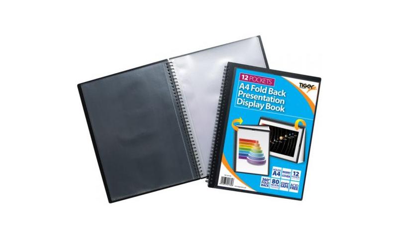 Tiger ECO A4 Fold Back Wirobound Presentation Display Book 12 Pocket