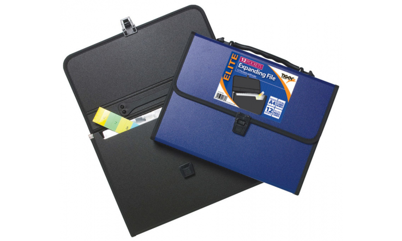 Tiger ECO Heavy Duty A4 Expanding File 12 part, Handle & Flap over Clip Lock.