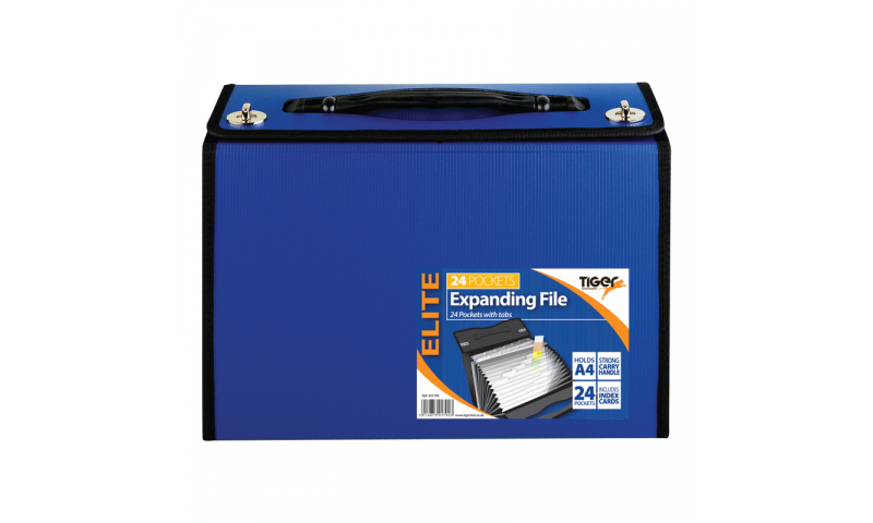 Tiger ECO Heavy Duty A4 Expanding File 24 part, Handle & Top Swivel Locks.  (New Lower Price for 2021)