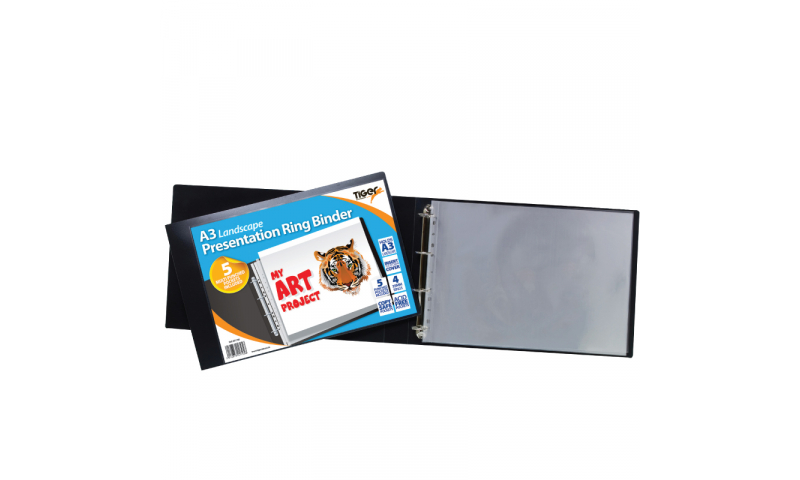 Tiger ECO A3 Presentation 35mm D Ring binder with 5 Pockets, Landscape.  (New Lower Price for 2021)