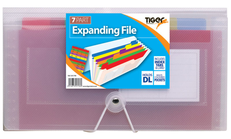 Tiger DL Size Expanding Organiser 7 Compartment for small Documents (New Lower Price for 2021)