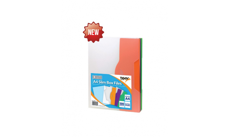 Tiger A4 Pack of 3 Polyprop 10mm Slim Box Files, Tab Closure, Bright Coloured Flaps, Asstd