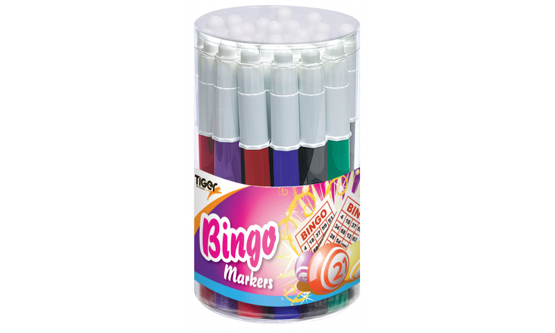 Tiger Bingo Markers in Tub, 5mm Conical Point, 1000m Long Writing Length