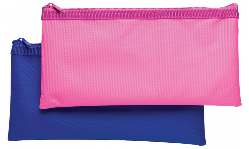 Tiger Nylon Bi-colour Flat Pencil Case, 3 asstd (New Lower Price for 2021)