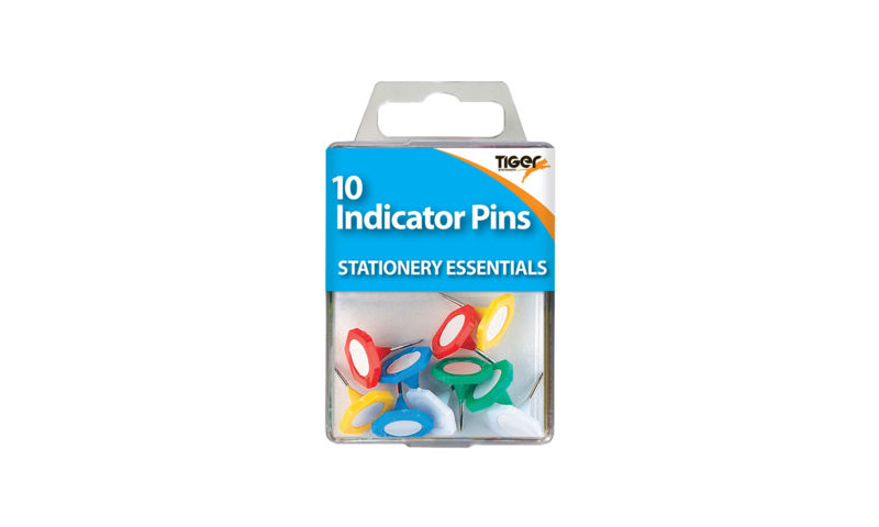 Tiger Essentials, 10 Indicator Pins Asstd Colours