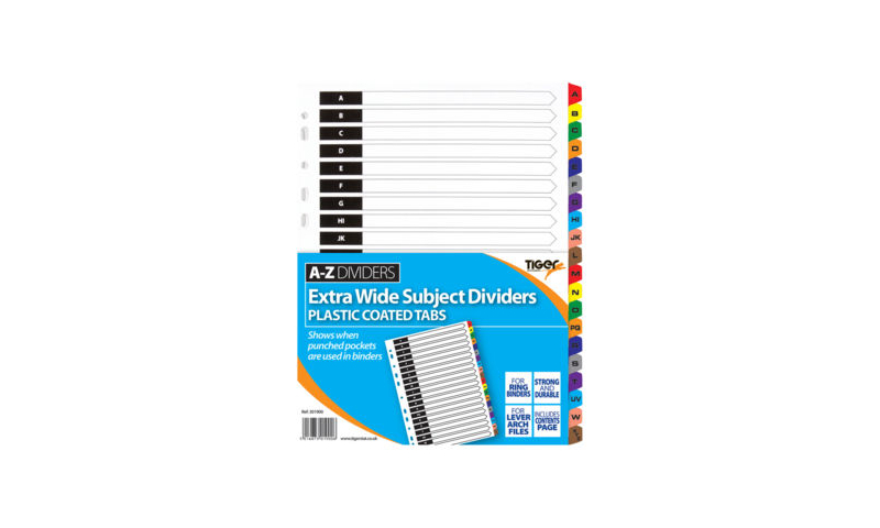 Tiger A4 Card Dividers, 20 Part Extra Wide, A-Z Mylar Tabbed
