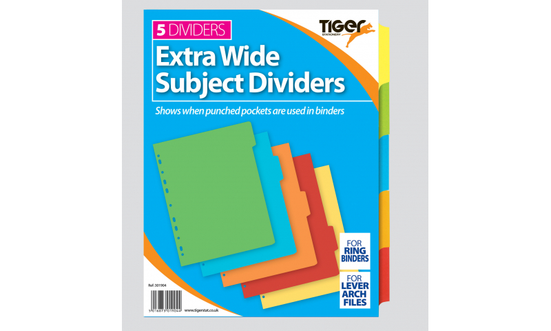 Tiger A4 Extra-wide 5 Part Coloured Card Dividers