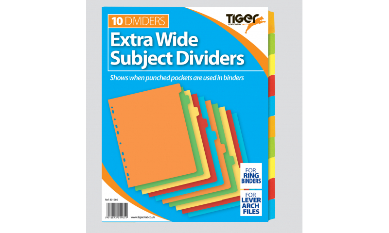 Tiger A4 Extra-wide 10 Part Coloured Card Dividers
