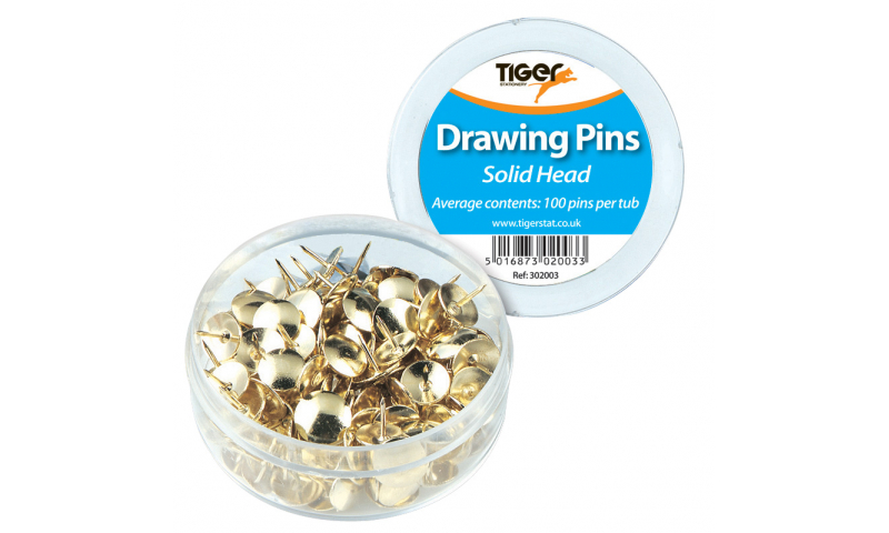 Tiger Brass Solid Head Large Drawing Pins in tub of 100