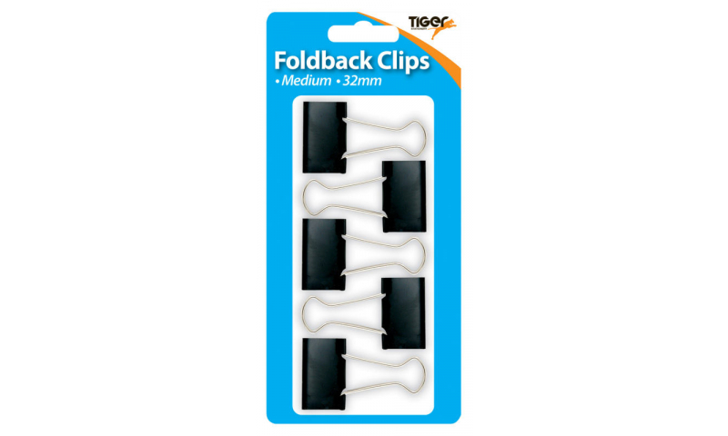 Tiger 32mm Large Foldback Clips 5 Pack, Hangcarded