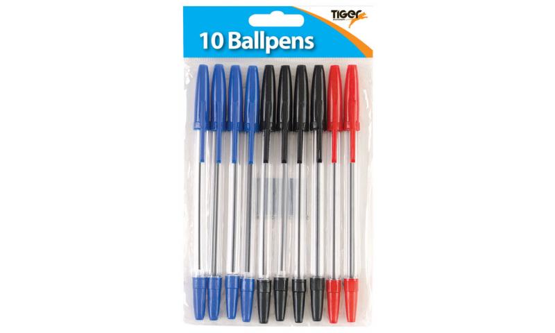 Tiger Ultraglide Ballpens, 10 Pack, Asstd, Hangpack.