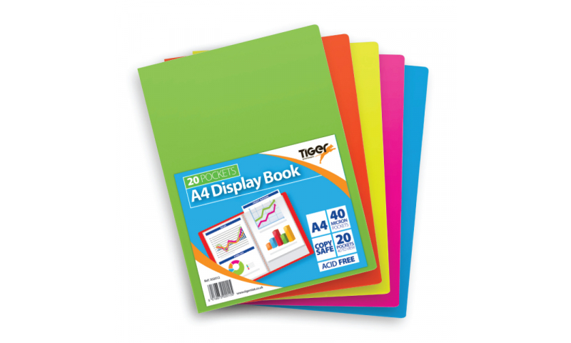 Tiger A4 Vivid Flexicover 20 Pocket Display Book, 5 asstd colours.  (New Lower price for 2021)