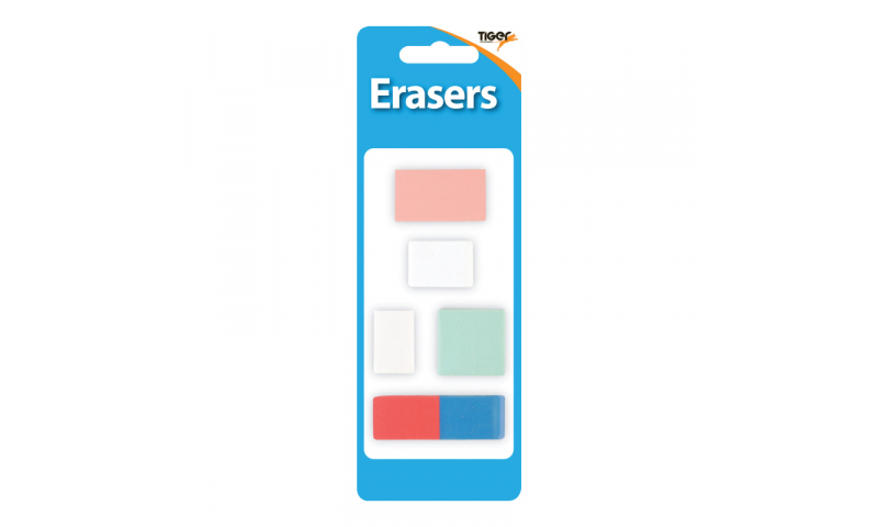 Tiger 5 Pack Multipurpose Asstd Erasers, Carded (New Lower price for 2021)
