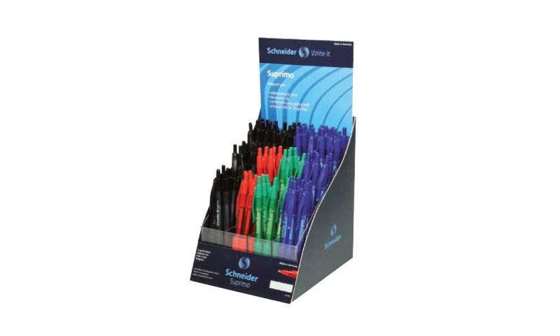 Schneider Suprimo Ballpen Refillable & Rubber Grip, Display Stand ( 30 black & blue 10 red & green)