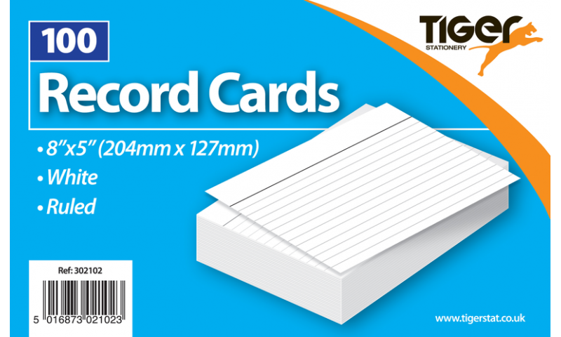"""Tiger Ruled Record/Revision Cards, White Pack  100pks, 8x5"""""""
