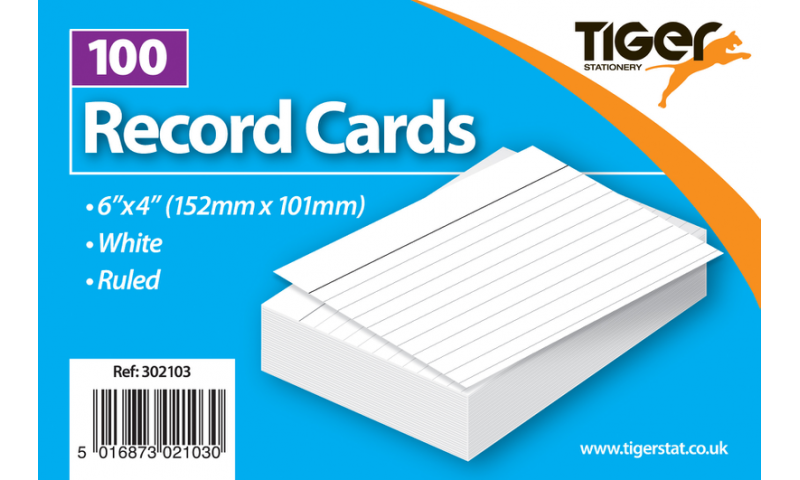 """Tiger Ruled Record/Revision Cards, White Pack 100pks, 6""""x4"""""""