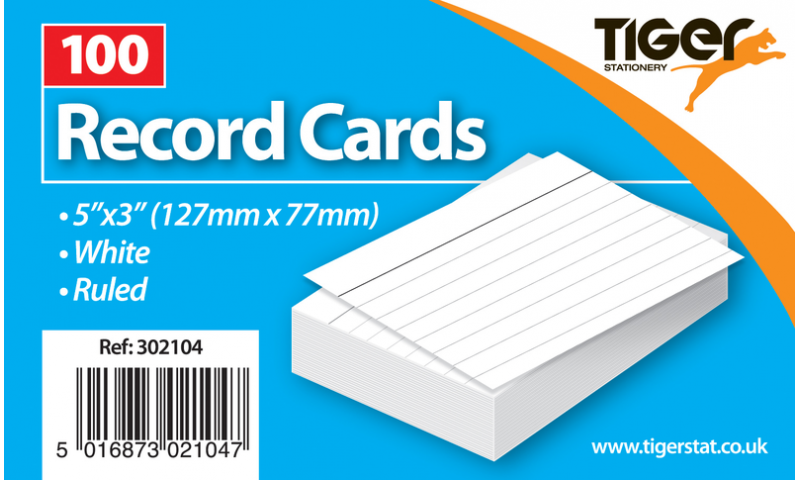"""Tiger Ruled Record/Revision Cards, White Pack 100pks, 5""""x3"""""""