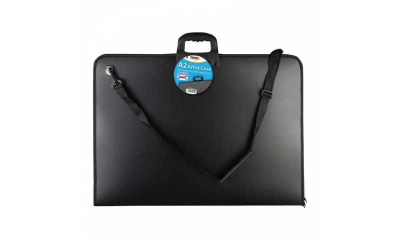 Tiger ECO A2 Artist Portfolios, Polyprop with 3 Sides Gusset Zips, Carry Handle & Shoulder Strap. Internal Elastic Fixing Straps.
