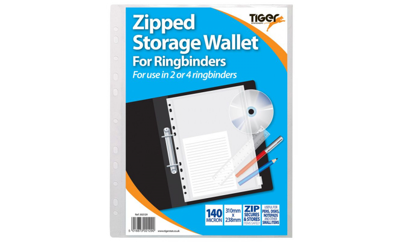 Tiger A4 Clear Zipped Storage Stud Wallet, Punched for Binders 140mic.  (New Lower Price for 2021)