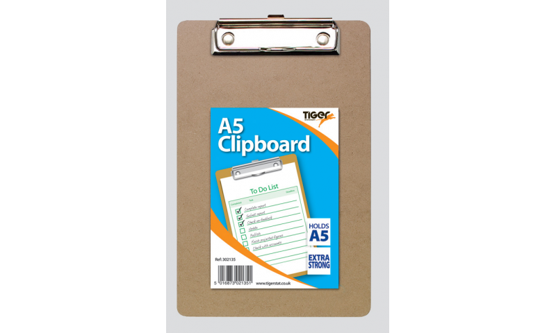 Tiger A5 Masonite Clipboard with Strong Clip, 225 x 155mm