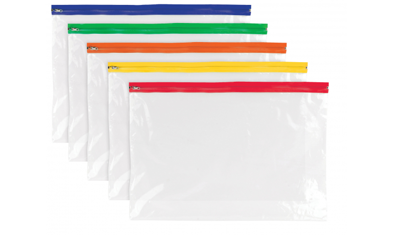 Tiger ECO A3 Polythene Zip Bags, assorted colours