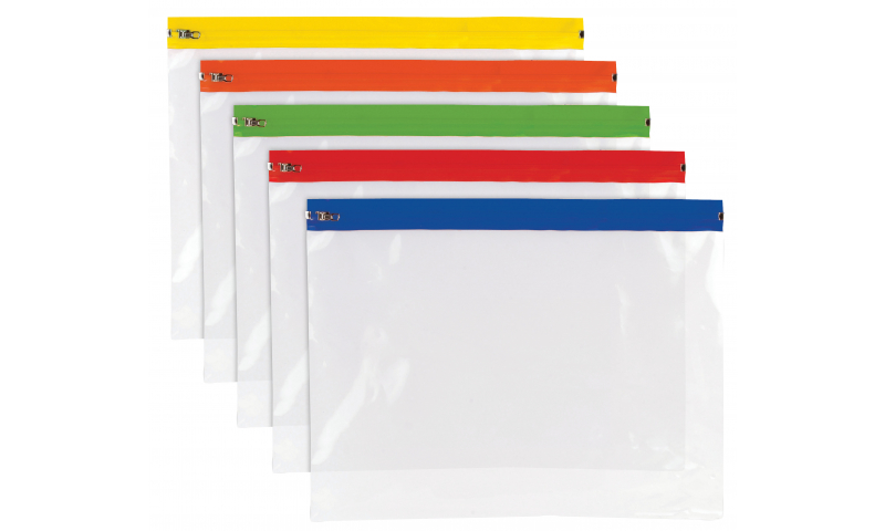 Tiger ECO A4+ Polythene Zip Bags, assorted colours. (New Lower Price for 2021)