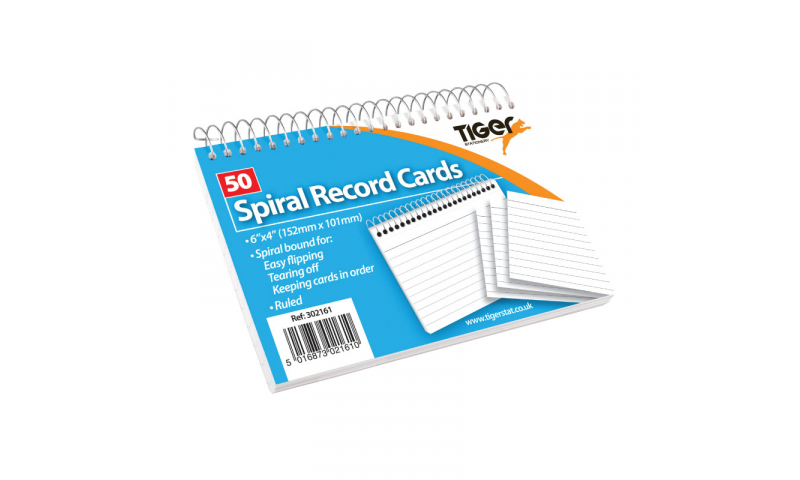 """Tiger Ruled Record/Revision Cards, White Spiral Bound & Perfed 50 Pack, 6""""x4"""""""