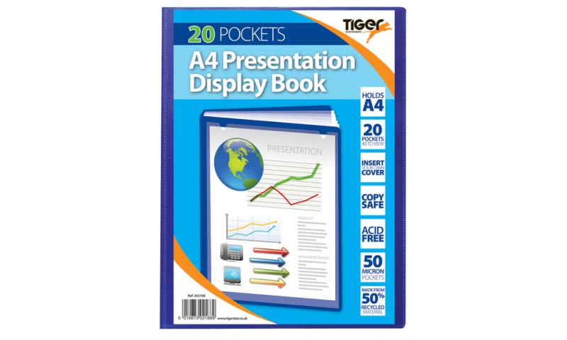 Tiger A4 Presentation Display Book, 20 Pocket 50 micron Blue